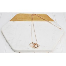 Long Rose Gold 3 Square Necklace