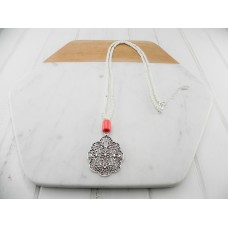 Silver White Resin Coral Necklace