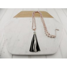 Rose Gold Leather Tassel Necklace
