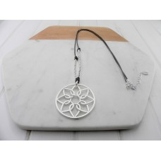Silver & Brown Leather Flower Necklace