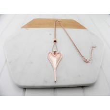 Matt Rose Gold Pointy Heart Necklace
