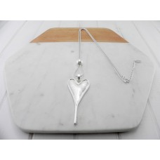 Matt Silver Pointy Heart Necklace