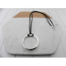 Grey Leather Ring Necklace