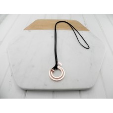 Black Leather Rose Ring Necklace