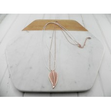 White Leather & Rose Gold Leaf Necklace