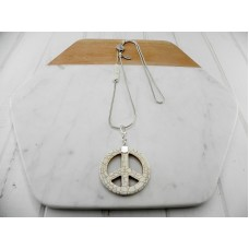 Cream Stone Peace On Silver Chain with Cream Leather Necklace