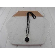 Shiny Black Beads with Black Crystal Pendant Necklace