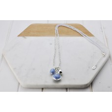 Silver & Blue Glass Bead Necklace