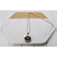 Rose Gold with Black Resin Pendant Necklace