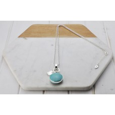 Silver with Turquoise Resin Pendant Necklace
