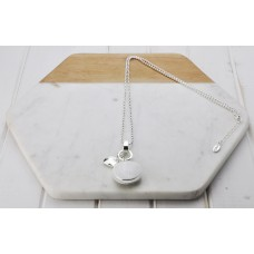 Silver with White Resin Pendant Necklace