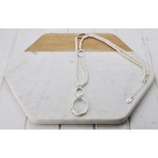Silver Rings Cream Bead Necklace