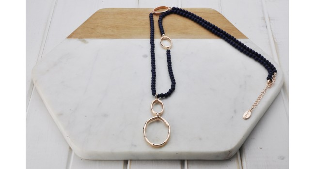Rose Rings Navy Bead Necklace