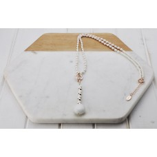 Rose Gold & White Bead Necklace