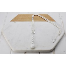 Silver & White Bead Necklace
