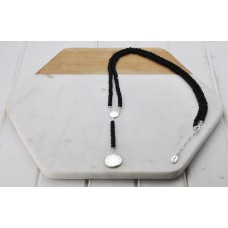 Black Beads & Silver Disc Necklace