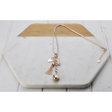Rose Gold with Pink Heart and Tassel Necklace