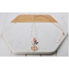 Rose Scroll & Grey Pearl Necklace