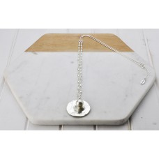 Silver Disc & Grey Pearl Necklace