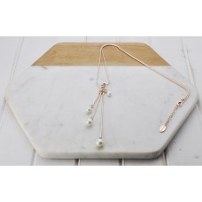 Rose Gold 3 Drop Pearl Necklace