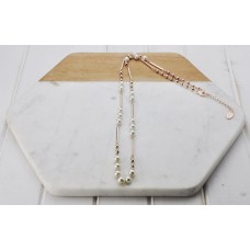 Rose Gold Pearl Bar Necklace
