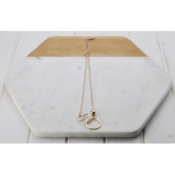 Short Rose Gold 3 Ring Necklace