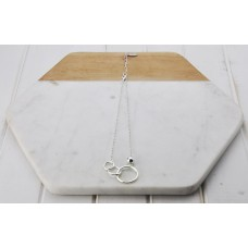 Short Silver 3 ring Necklace