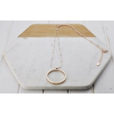 Rose Gold Ring on Ball Chain Necklace