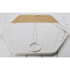 Silver Ring on Rose Ball Chain Necklace