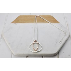 Mixed Silver & Rose Gold Two Ring Necklace