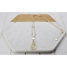 Gold Tassel & Disc Necklace
