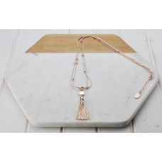 Rose Gold Tassel & Disc Necklace