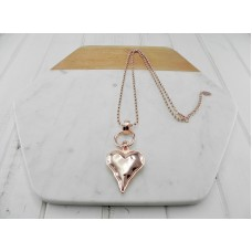 Rose Gold Ball Chain with Gold Heart Necklace