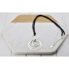 Black Leather Silver Rings Necklace