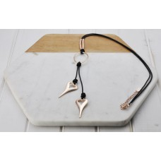 Rose Gold & Black Leather Necklace