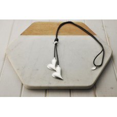 Grey Leather Silver Heart Necklace