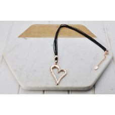 Black Cord Rose Gold Heart Necklace
