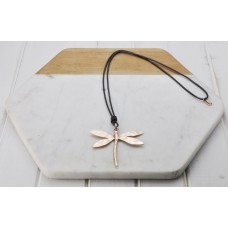 Grey Leather Rose Dragonfly Necklace