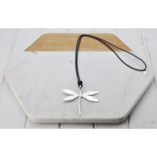 Grey Leather Silver Dragonfly Necklace
