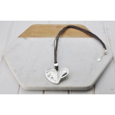 Grey Leather Silver Pendant Necklace