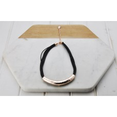 Black Leather Rose Bar Necklace