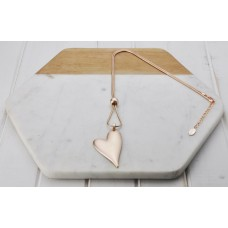 Rose Gold Matt Solid Angle Heart Necklace
