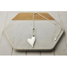 Silver Matt Solid Angle Heart Necklace