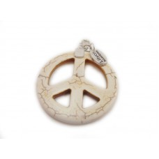 Cream Peace Sign Pendant