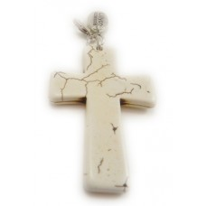Stone Cream Cross Pendant