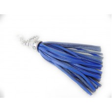 Blue Leather Tassel Pendant
