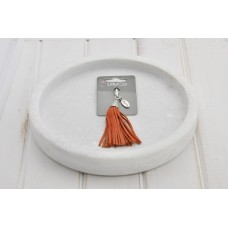 Orange Leather Tassel Pendant