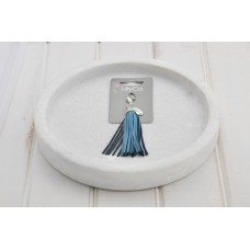 Turquoise Leather Tassel Pendant
