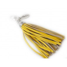 Yellow Leather Tassel Pendant