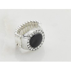 Black and Crystal Adjustable Ring